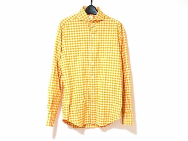 finamore(フィナモレ) 長袖シャツ メンズ オレンジ×アイボリー チェック柄/Napoli