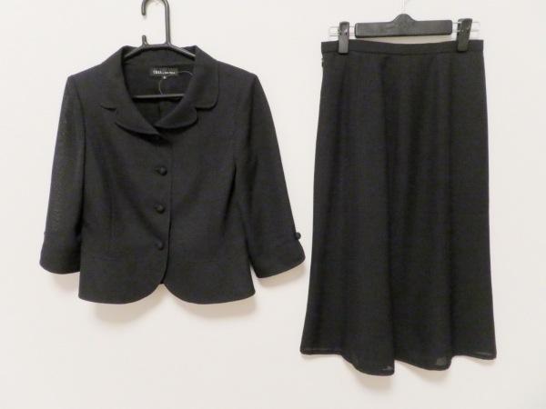 ソワール ペルル スカートスーツ サイズ9 M レディース美品  黒 CREA by SOIR PERLE