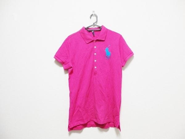 ラルフローレン 半袖ポロシャツ サイズL レディース ビッグポニー ピンク×ブルー