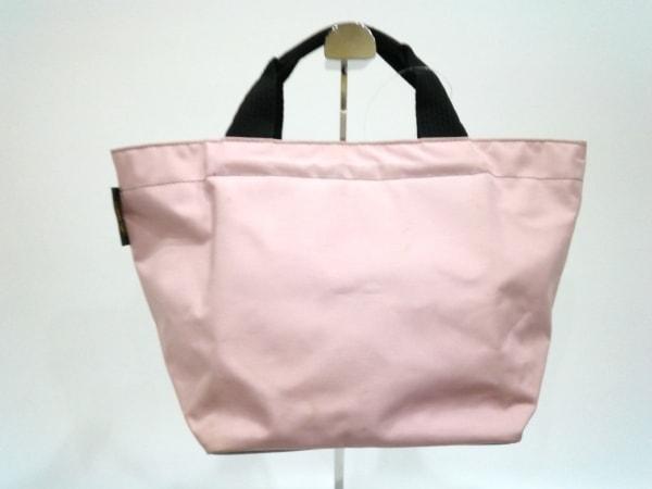 Herve Chapelier(エルベシャプリエ) ハンドバッグ美品  ピンク×黒 中サイズ ナイロン