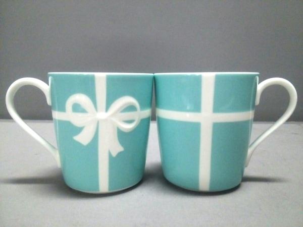 ティファニー マグカップ新品同様  ブルーボウ ライトブルー×白 ペアマグカップ 陶器