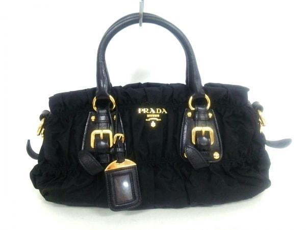 PRADA(プラダ) ハンドバッグ美品  ギャザーバッグ 黒 革タグ ナイロン×レザー