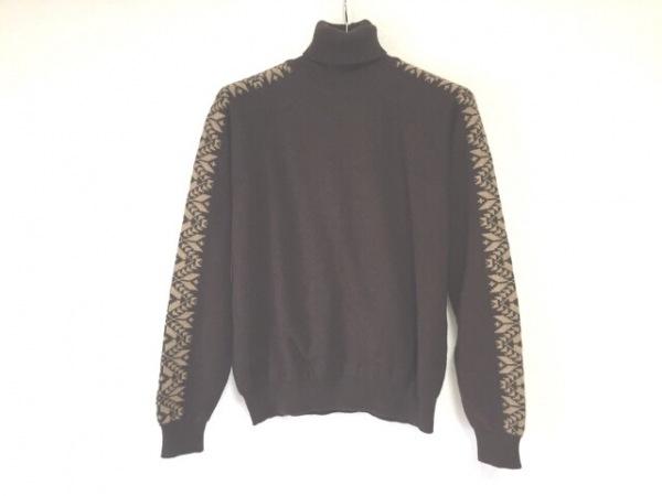 ダンヒル 長袖セーター サイズM メンズ ダークブラウン×ベージュ タートルネック