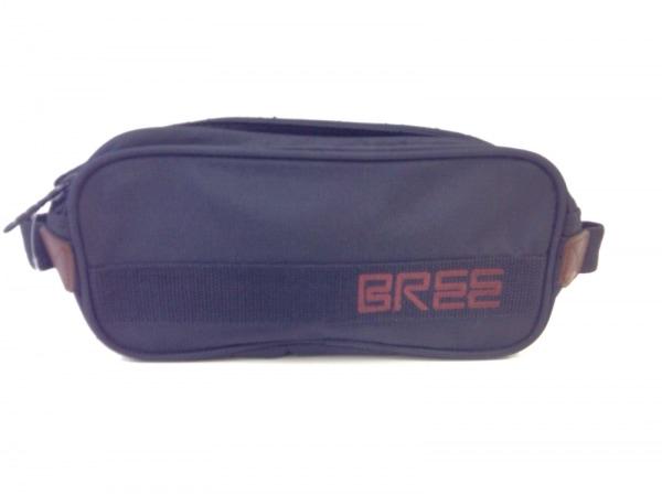 BREE(ブリー) セカンドバッグ 黒×ダークブラウン ナイロン×レザー