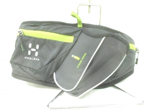 HAGLOFS(ホグロフス) ウエストポーチ美品  黒×ライトグリーン ナイロン