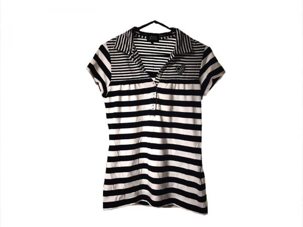 パーリーゲイツ 半袖ポロシャツ サイズ1 S レディース新品同様  ダークネイビー×白
