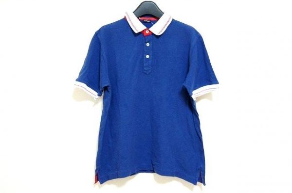 Kiton(キートン) 半袖ポロシャツ サイズL メンズ ネイビー×白×レッド