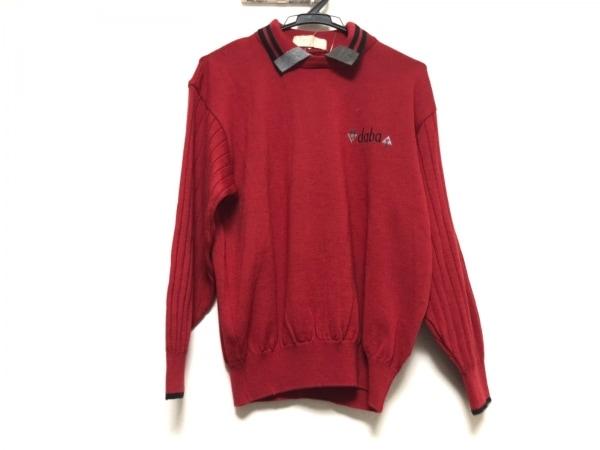 アダバット 長袖セーター サイズ1 S レディース美品  レッド×黒×グレー 襟着脱可