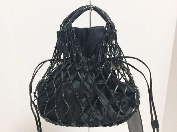 フランチェスコ・ビアジア トートバッグ美品  黒 巾着 レザー×化学繊維