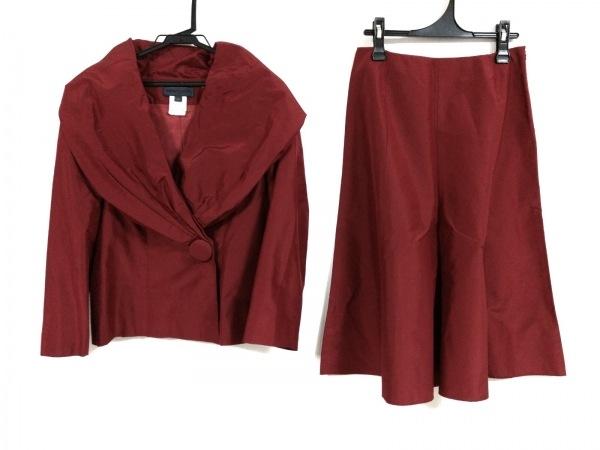 レナトヌッチ スカートスーツ サイズ40 M レディース美品  レッド シルク
