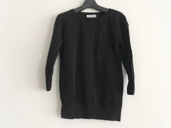バランタイン 七分袖セーター サイズ40 M レディース美品  黒 ラメ/チェック柄