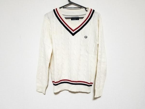 フレッドペリー 長袖セーター サイズ8 M レディース アイボリー×レッド×黒