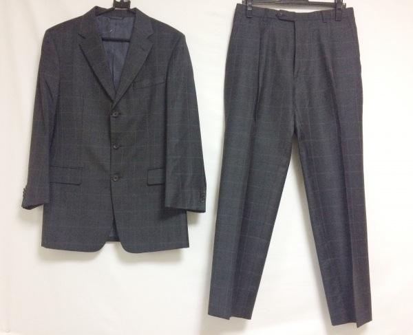 コムサコレクション シングルスーツ サイズM メンズ ダークグレー×黒×グレー