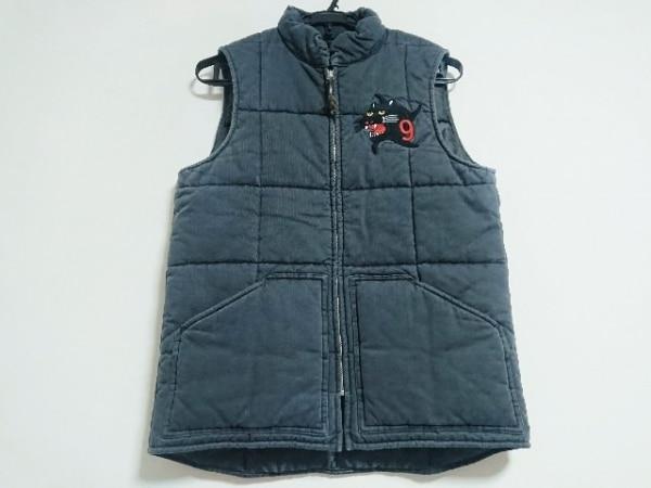 ホワイトライン ダウンベスト サイズ46 XL メンズ美品  ダークグレー 春・秋物/刺繍