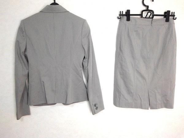 ルジュール スカートスーツ レディース グレー×ライトグレー ストライプ/肩パッド