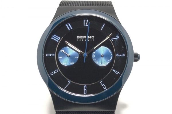 BERING(ベーリング) 腕時計美品  32139-227 メンズ クロノグラフ 黒×ブルー