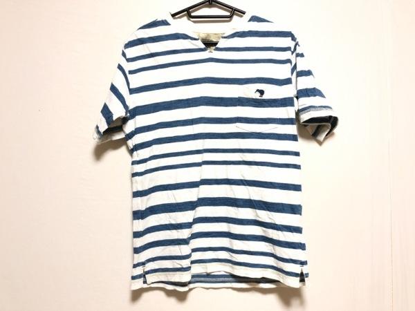 カンタベリーオブニュージーランド 半袖Tシャツ サイズM メンズ 白×ブルー ボーダー