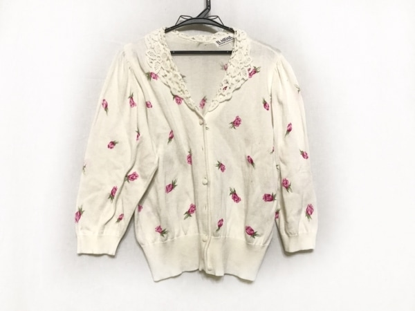 EL MIDAS(エルミダ) カーディガン レディース 白×ピンク×グリーン 花柄/レース