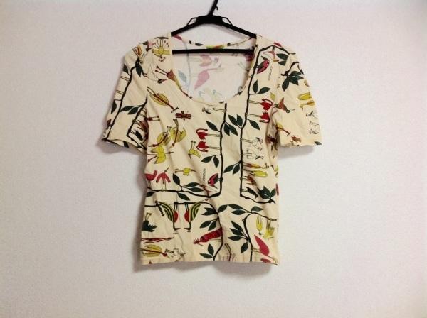 JOCOMOMOLA(ホコモモラ) ノースリーブTシャツ レディース アイボリー×マルチ