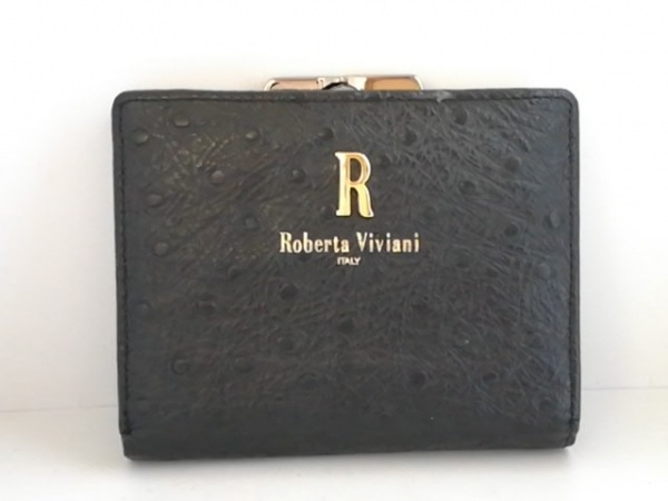 Roberta Viviani(ロベルタヴィヴィアーニ) 2つ折り財布 黒 レザー
