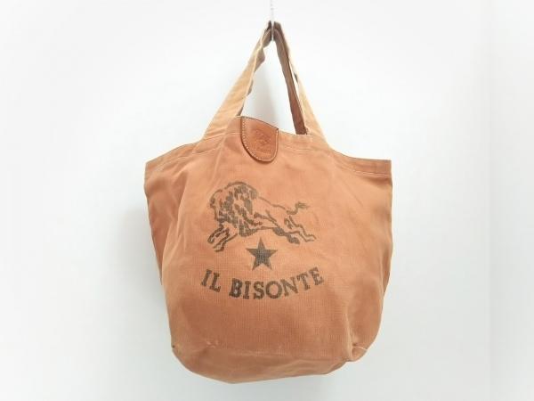 IL BISONTE(イルビゾンテ) トートバッグ美品  ブラウン キャンバス×レザー