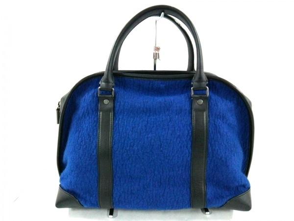 プロエンザスクーラー ハンドバッグ美品  ブルー×黒 ウール×レザー