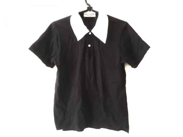 ローブドシャンブル コムデギャルソン 半袖ポロシャツ レディース 黒×白