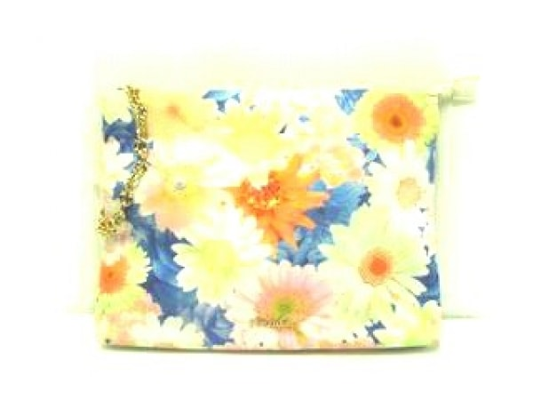 リエンダ クラッチバッグ オレンジ×ネイビー×マルチ 花柄 ナイロン×金属素材
