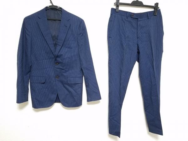 インヘイルエクスヘイル シングルスーツ メンズ ネイビー×ライトブルー ストライプ