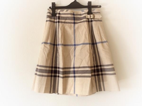 ヨークランド スカート サイズ11 M レディース美品  ベージュ×黒×ブルー チェック柄