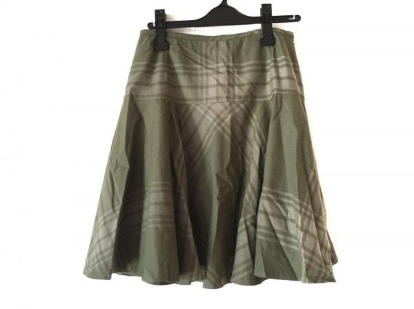 ヨークランド スカート サイズ11 M レディース美品  グリーン×ベージュ チェック柄