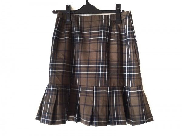 ヨークランド スカート サイズ11 M レディース美品  ダークブラウン×黒×アイボリー