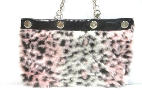 ALGONQUINS(アルゴンキン) ハンドバッグ 白×ピンク×黒 豹柄 フェイクファー×合皮