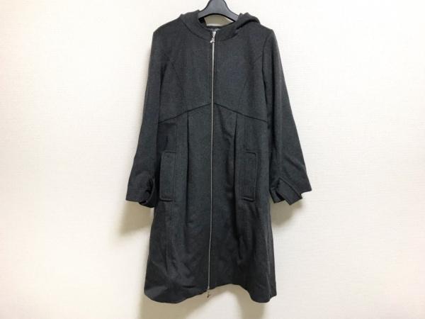 ユマコシノ コート サイズ38 M レディース美品  ダークグレー 冬物/ジップアップ