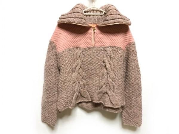 ユマコシノ 長袖セーター サイズ38 M レディース美品  ピンク×アイボリー