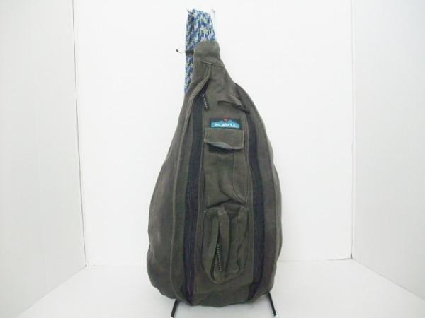 カブー ワンショルダーバッグ ダークグレー×ブルー×マルチ コットン×化学繊維