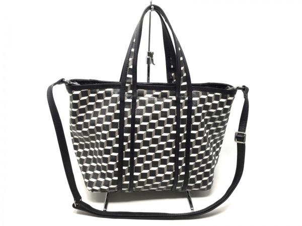 ピエールアルディ ハンドバッグ 黒×白×ダークグレー 総柄・幾何学模様