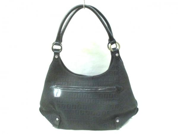 FENDI(フェンディ) トートバッグ ズッキーノ柄 8BR591 黒 ジャガード×レザー