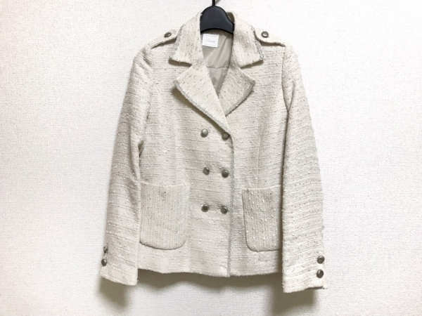 Cara(カーラ) ジャケット レディース美品  アイボリー×シルバー ツイード/刺繍