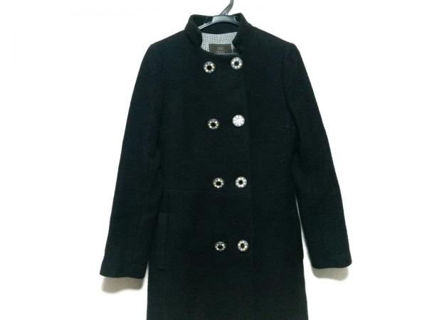 TOCCA(トッカ) コート サイズ2 S レディース美品  黒×ピンク×マルチ 冬物/刺繍/花柄