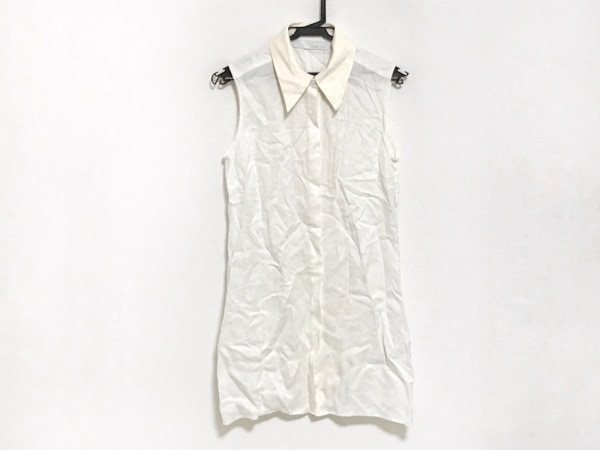 ADEAM(アディアム) ワンピース サイズ4 XL レディース 白×アイボリー シャツワンピ