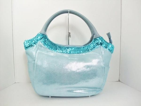 ラメットベリー ハンドバッグ ライトブルー 化学繊維×スパンコール×レザー