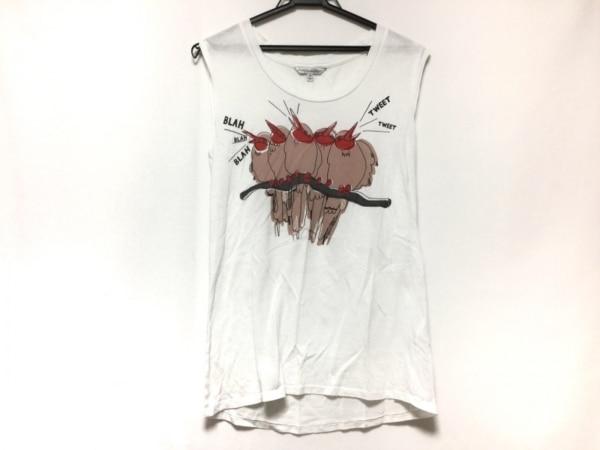 レベッカミンコフ ノースリーブTシャツ サイズXS レディース 白×ブラウン×マルチ 鳥
