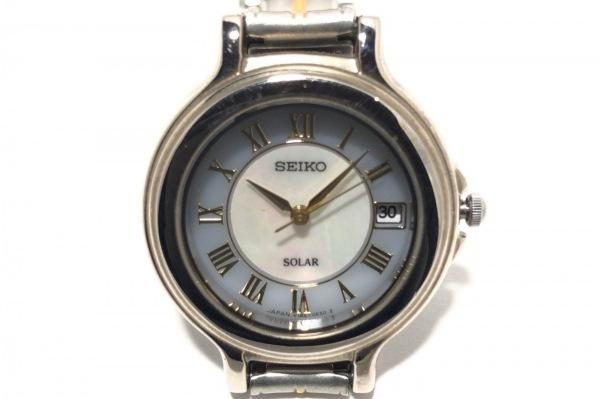 SEIKO(セイコー) 腕時計 V182-0C70 レディース シェル文字盤 グレー×白