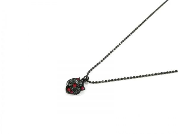 アナスイ ネックレス美品  金属素材×ラインストーン ダークグレー×レッド フラワー
