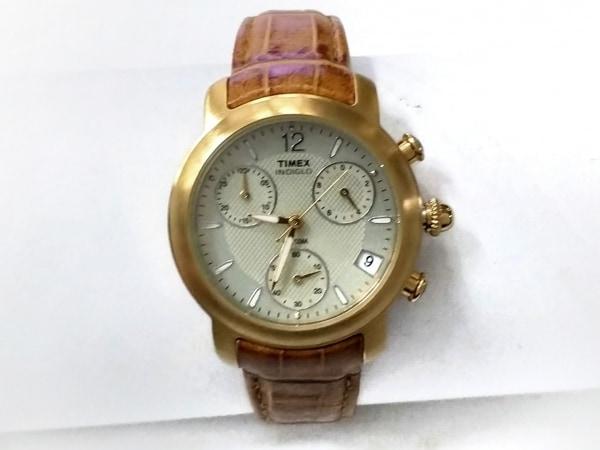 TIMEX(タイメックス) 腕時計 - レディース 革ベルト/クロノグラフ シルバー