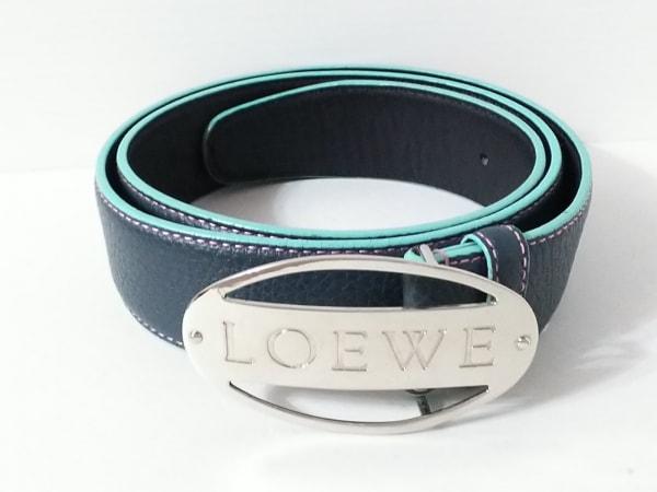LOEWE(ロエベ) ベルト 34-85 ネイビー×グリーン×シルバー レザー×金属素材