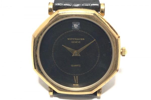 WITTNAUER(ウィットナー) 腕時計 - メンズ 革ベルト/型押し加工/ラインストーン 黒/黒