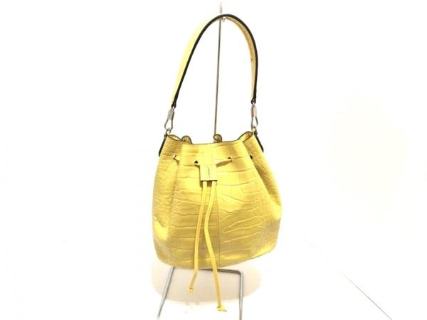 エリザベスアンドジェームス ハンドバッグ イエロー 巾着型/型押し加工 レザー