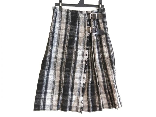オニール 巻きスカート サイズ38 M レディース 黒×ライトグレー×グレー チェック柄
